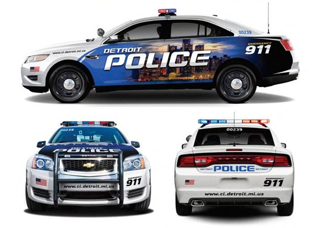 Police vehicles from Chrysler, Ford, and GM, that will be paid for by donations from a number of U.S. corporations.