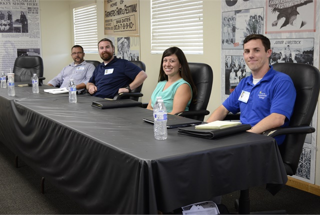 (L-R) Mike Simonds, Brad Northup, and Jessica Sutorus spoke about fleet greening with panel moderator Randy Wilde from the Center for Sustainable Energy.