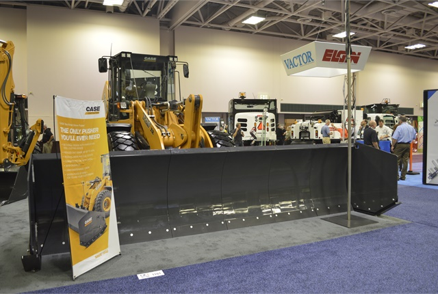Among the products on the show floor was Case's new sectional snow pusher. Photo by Thi Dao