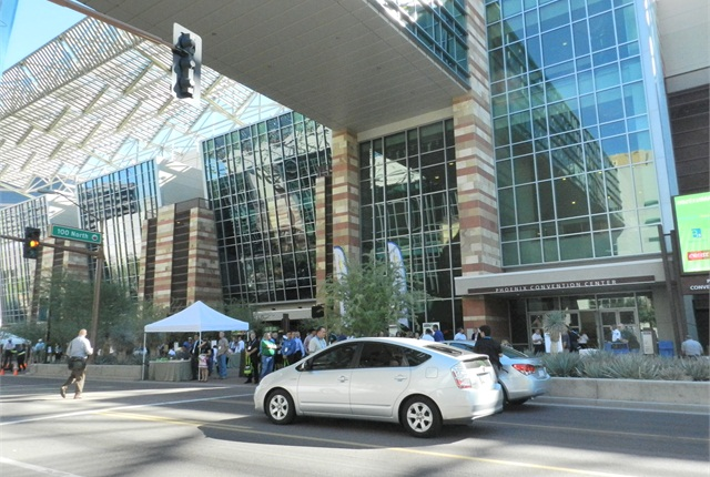 For this year's Ride & Drive, Green Fleet Conference organizers closed down a city street in downtown Phoenix