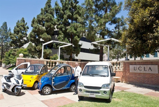 Tim Pfrimmer, fleet manager, is pictured here with some of the fleet's new vehicles. Photo courtesy of UCLA.