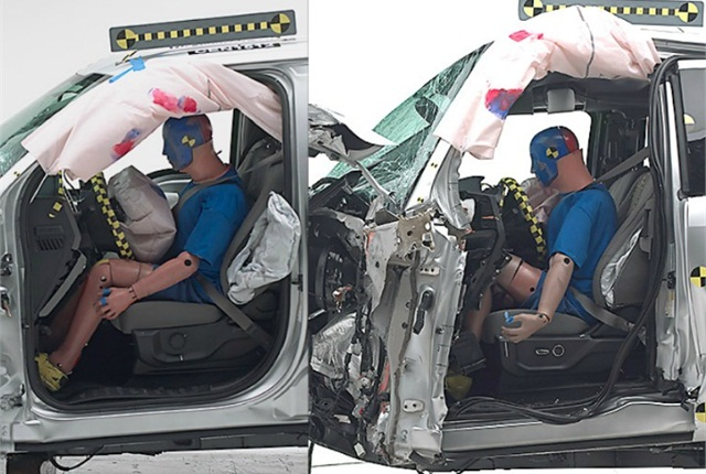 Photos of crash-testing of the crew cab (left) and extended cab models of the 2015 F-150 courtesy of IIHS.