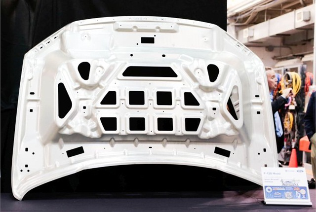 Photo of F-150 hood made from Alcoa's Micromill material courtesy of Ford.