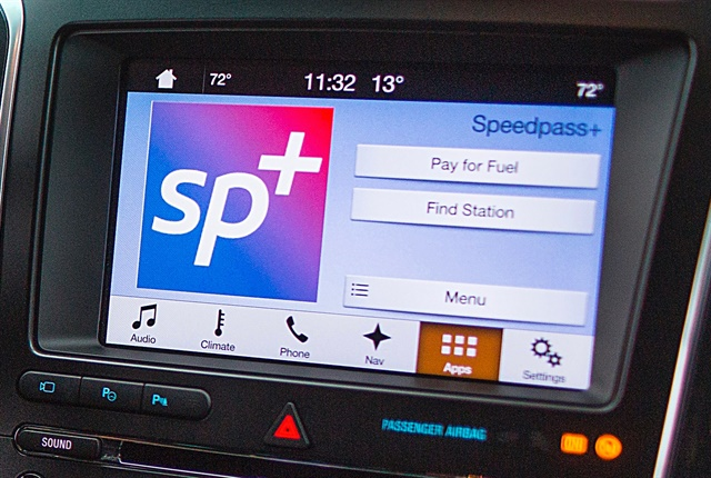 Photo of ExxonMobile's Speedpass+ app on a touchscreen courtesy of Ford.