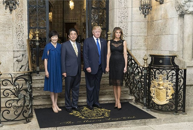 President Donald Trump and First Lady Melania Trump host Japanese Prime Minister Shinzo Abe and his wife, Akie Abe, at Mar-a-Lago in nearby Palm Beach, Fla., Feb. 11. Photo via Wikimedia/内閣官房内閣広報室