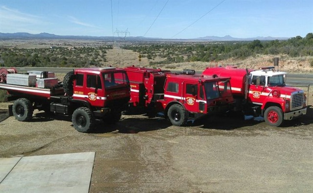 (from l. to r.), LMTV apparatus, crash rescue vehicle, and water tender. Photo courtesy of WVFD-Bagdad.