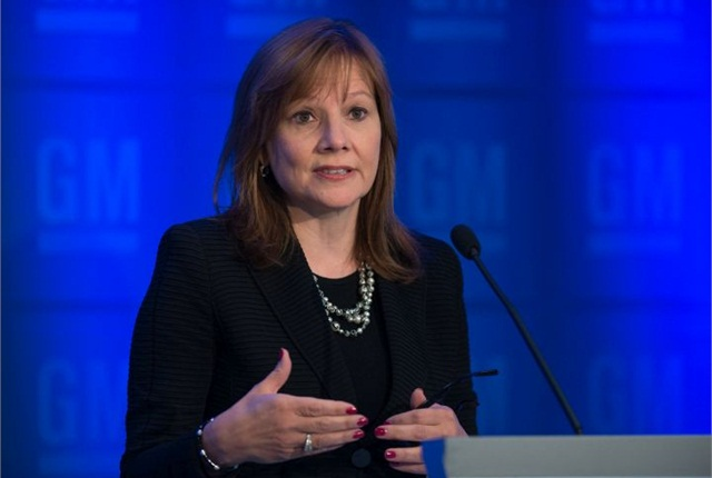CEO Mary Barra addresses the media at GM's June 10 annual stockholders meeting. Photo courtesy of GM.