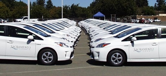 Toyota Prius models will replace Sacramento County's fleet of light-duty cars that are no longer economical to own. Photo courtesy of Sacramento County General Services Fleet Division.