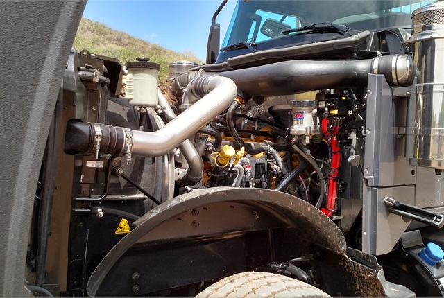 Navistar-made CT13 diesel will remain the standard engine in Cat Trucks, as will the cab and chassis adapted from the International PayStar. Photo: Tom Berg