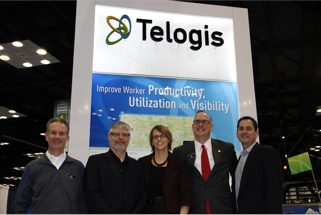 Following the announcement of GM and Telogis' partnership to provide a fleet telematics solution on GM products (l-r) Paul Loewer, commercial product manager for GM; David Lohmeier, manager of new business for OnStar; Amy Hart Phillips, VP, OEM business for Telogis; Ed Peper, U.S. VP, Fleet & Commercial for GM; and Mark Wallin, VP product management for Telogis pose for posterity.