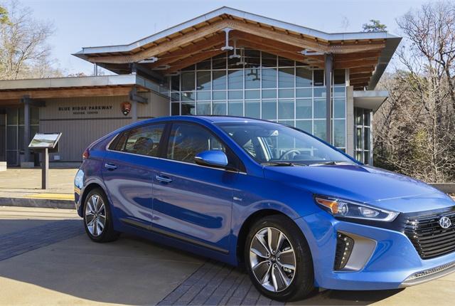 Photo of a Hyundai Ioniq Hybrid at Blue Ridge Parkway courtesy of Hyundai