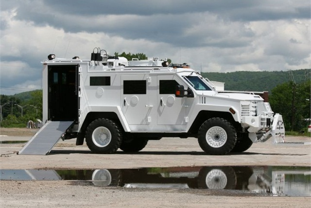 "The new Lenco ""BombCat"" vehicle designed for explosive device disposal. Photo courtesy Lenco Industries."