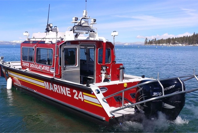 Photo of the Tahoe Douglas Fire Protection District's new firefighting boat courtesy of Lake Assault Boats