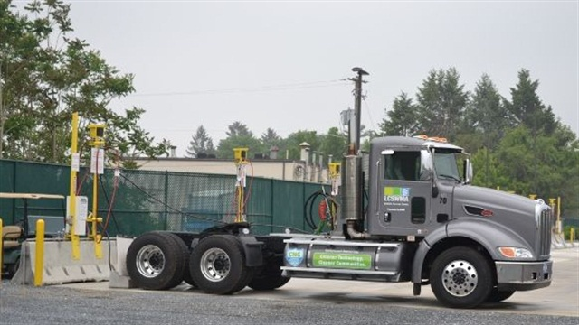 The Peterbilt transfer trucks have Cummins-Westport ISX 12L CNG engines and will fuel overnight. Photo courtesy of LCSWMA.