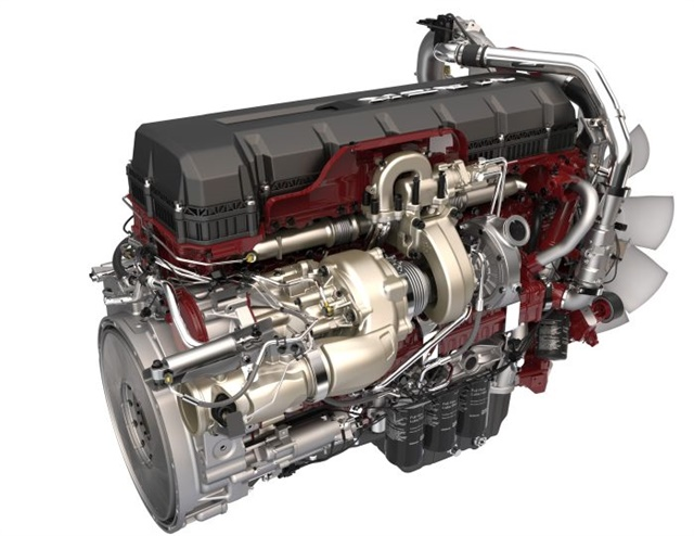 2017 Mack MP-8 TC uses a second turbo to send extra power to the crankshaft and save fuel. Photos: Mack Trucks