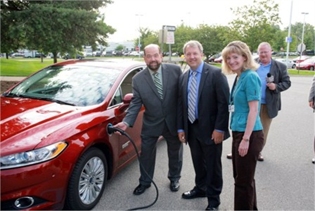 On August 9, Dearborn's Mayor Jack O'Reilly was joined by Tom Wither, founder of the Adopt a Watt program; Mike Tinskey, director of Ford Motor Company's Global Vehicle Electrification and Infrastructure; Jennifer Mefford, director, New Business Development, Powering Michigan's Future, NECA/IBEW (Local 58); and representatives for Sen. Carl Levin, Sen. Debbie Stabenow and Congressman John Dingell.