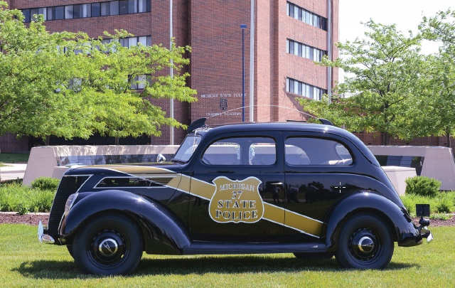 The 1937 Ford Model 74 is the oldest patrol car in Michigan State Police's historical fleet. Photo courtesy of Michigan State Police