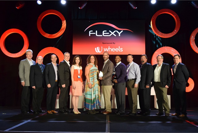 Flexy awards winners and sponsors are shown at the NAFA I&E awards ceremony. Photo by Andy Lundin