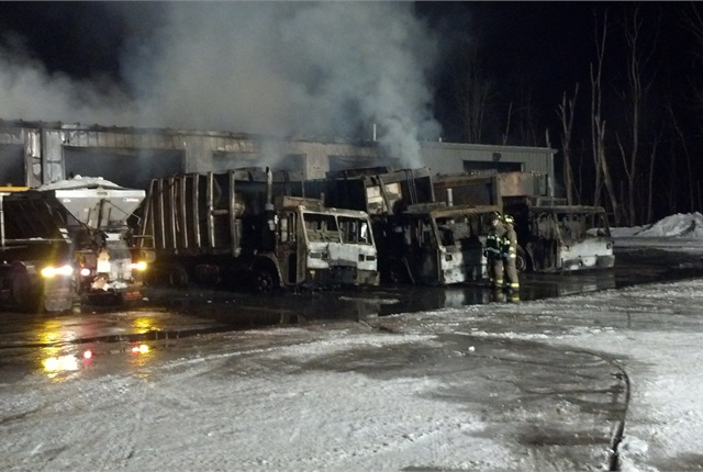The February fire destroyed six trucks. Photo via City of Oberlin.