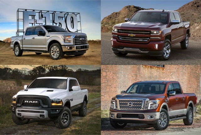 (clockwise from upper l.) 2017 F-150, Silverado 1500, Titan, and Ram 1500