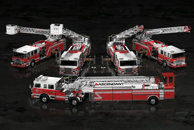 Pierce Manufacturing introduced four all-new Piece Ascendant aerial apparatus configurations, including 107-foot single rear axle aerial ladder, a 107-foot tandem rear axle aerial ladder, a 107-foot tractor-drawn aerial, and a 110-foot single rear axle aerial platform. Photo courtesy of Pierce