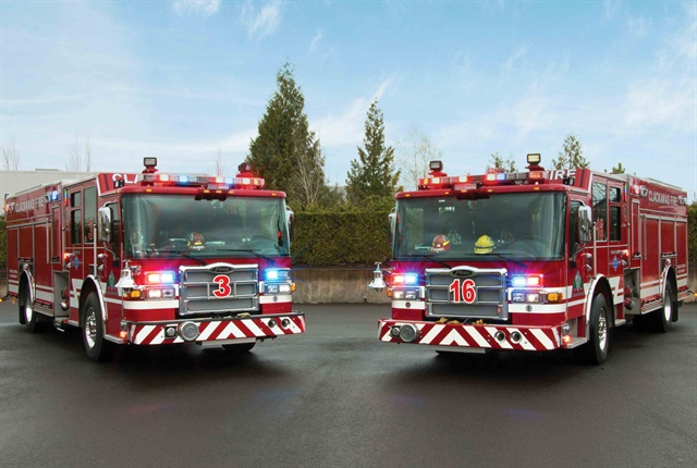 Clackamas Fire District No. 1 in Oregon has ordered 15 Pierce fire and emergency vehicles. Photo courtesy of Pierce.