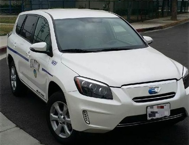 """The city's """"green"""" fleet currently consists of hybrids, compressed natural gas vehicles, and electric vehicles, including this Toyota Rav4 EV. Photo courtesyof City of Anaheim"""