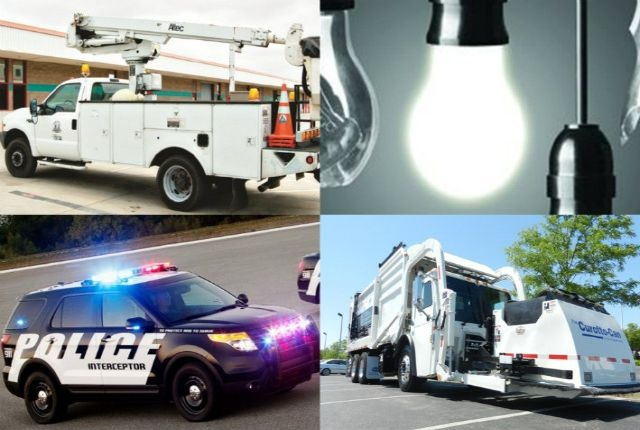 (Clockwise from top left) Gasoline-powered vehicle, bright ideas, Ford's Police Interceptor Utility, Heil's Odyssey Freedom Front Loader