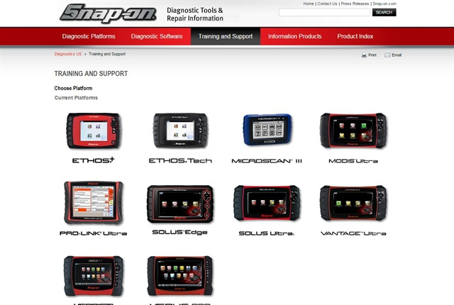 Screencapture of snapon.com/trainingsolutions