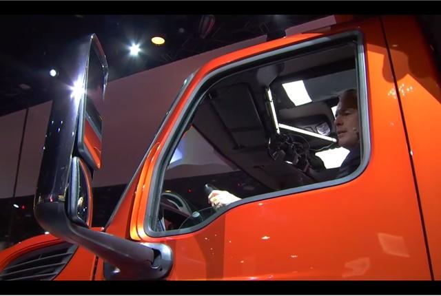 A new stronger door features a larger window for better visibility. Photo: Navistar Facebook Live video