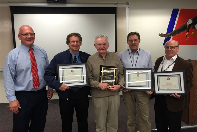 """Pictured l-r are: Chris Helgren, emergency manager of the Fire and Emergency Services Department; Gene Clark, deputy director of the General Services Department; Louis """"Pete"""" Peterka; David Worthington, fleet manager; and Ed Bounoccorsi, deputy director of the General Services Department"""