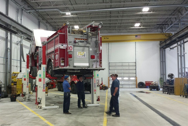 Previously, fire department technicians didn't have vehicle lifts. Photo courtesy of city of Springfield.