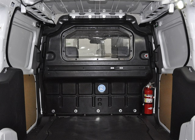 Photo of a composite partition in a Ford Transit Connect courtesy of Adrian Steel.
