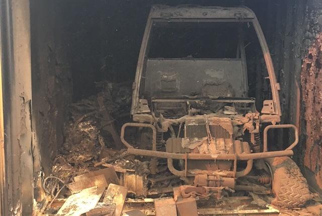 A John Deere Gator burned inside a storage box. Photo courtesy of City of Ventura