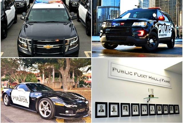 (Clockwise from top left): Chevrolet Tahoe PPV, Ford Police Interceptor Utility, Public Fleet Hall of Fame, Chevrolet Corvette Z06.
