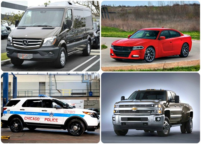 (Clockwise from top left) 2014-MY Sprinter; 2015 Dodge Charger; MY-2015 Chevrolet Silverado 3500HD; Chicago Police Department's P.I. Utility