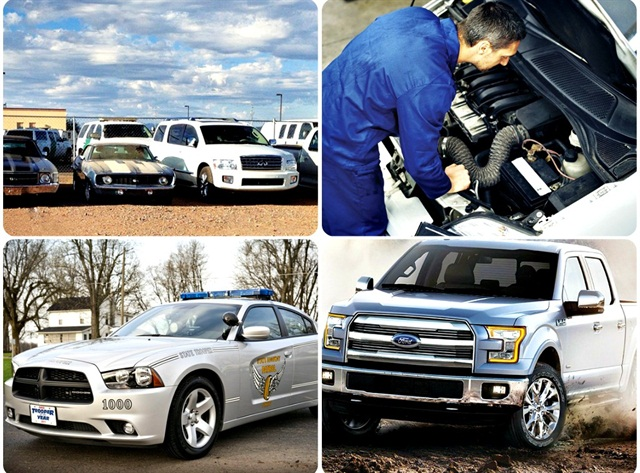 Clockwise from top left: Seized vehicles, tracking labor, 2015 F-150, in-service police cars