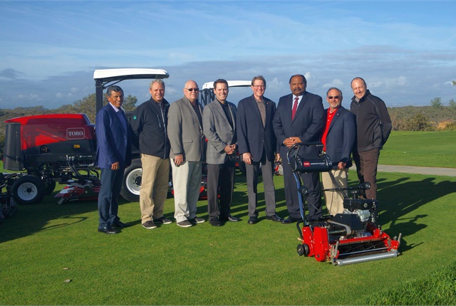 Left to Right: Joe Guerra with Turf Star, Scott Bentley with the City of San Diego, Mark Marney with the City of San Diego, Randy Harris with the Toro Company, Jim Heinze with the Toro Company, Herman Parker with the City of San Diego, Len Gregory with Turf Star, and Doug Dahl with Turf Star. Photo courtesy of Toro