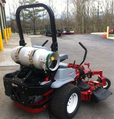 The Town is refueling its propane-powered mowers at a station installed by one of its fuel suppliers.  Photo courtesy Town of Fishers.