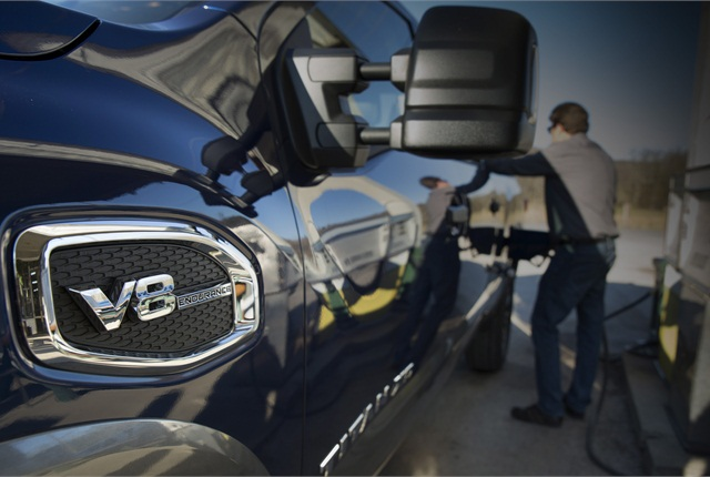 Gasoline power, available in early spring, will reduce the purchasing cost of the Titan XD full-size pickup. Photos: Nissan North America