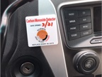 Photo of carbon monoxide detection stickers courtesy of Austin PD