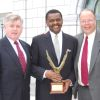 Windell Mitchell (center) accepted congratulations on his 2008 Public Sector Fleet Manager of the Year award from (left) Phil Fitzgerald, representing Automotive Resources International, the award sponsor, and Mike Antich, editor, Government Fleet magazine.<br /><br />