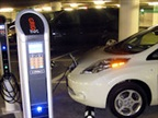 A Nissan Leaf charging in Houston's Tranquility Park garage.