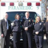 (L-R) Gerald Faircloth, Hutcheson's COO, hands over the keys to Captain Traci Reece, Paramedic Wendy Phillips, Asst. Chief James Cutcher, and Lt. Julie Brown to four ambulances donated to Walker County from Hutcheson for emergency medical services. Photo credit: www.hutcheson.org
