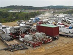 North American shale operations, like this hydraulic fracturing operation at a Marcellus Shale well, are one reason for a global glut of oil.