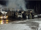 The February fire destroyed six trucks. Photo via City of Oberlin.<br />