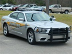 The new Dodge Chargers (right) have a new look -- they're silver instead of black. Photo courtesy of Orangeburg County Sheriff's Office.<br />