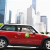 A MINI Cooper that is part of Zipcar's program in Chicago.