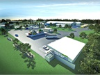 Pictured is a rendering of the CNG fueling facility, which will be have three dispensers initially and the ability to add two more. Image courtesy NoPetro.<br /><br />