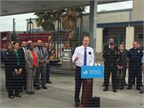 Mayor Kevin L. Faulconer announced the switch to renewable diesel at a press conference. Photo courtesy of the City of San Diego